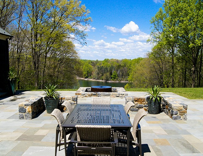 stone terrace with water feature